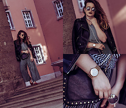 Jules - Zara Biker Jacket, Zara Pants, Zara Flats, Zara Sunglasses, Zara Top, Paul Hewitt Watch, Mango Bag - Stripe City