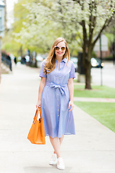 Ashley Hutchinson - Forever 21 Blue Midi Shirtdress, Victoria Beckham Orange Tote, Shein White Sneakers, White Sunglasses - Blue Summer Midi Dress