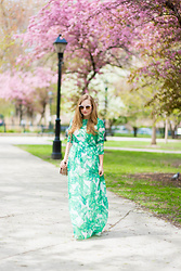 Ashley Hutchinson - Shein Palm Print Maxi Dress, Alexander Wang Studded Crossbody Bag - Palm Print Maxi Dress