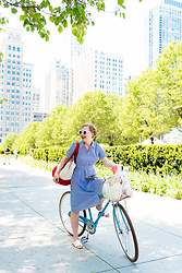 Ashley Hutchinson - Forever 21 Blue Shirt Dress, Shein White Wave Sandals - Summer Bicycling in Chicago