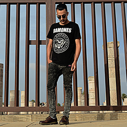 Mohamed Samaras - Ramones T Shirt, Ray Ban Clubmaster, Dr. Martens Shoes, River Island Denim - No one knows
