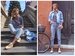 Anastasiia Masiutkina - Topshop Jeans, Topshop Denim Jacket, Valentino Bag, Valentino Sneakers, Helenasai Earrings - Bright detail