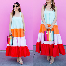 Jenn Lake - Mds Stripes Wyatt Dress, Sophie Hulme Rainbow Stripe Tote, Loeffler Randall Tassel Sandals, Baublebar Crispin Drop Earrings, Celine Marta Sunglasses, Giles And Brother Cortina Cuff - MDS Stripes Wyatt Dress