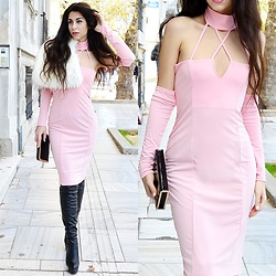 Marina Mavromati - Trendsgal Pink Dress, Trendsgal Over The Knee Boots, Free People Faux Fur Cape - New Year's GLAMbition!