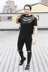 Matteo Peretti - No Perfect T Shirt, Zara Black Jeans, Dr. Martens Black Shoes, Gucci Jeans Jacket - Punk total black