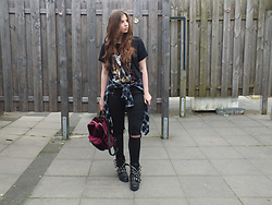 OH ANNE (BLOGGER) -  - METALLICA SHIRT, VELVET BACKPACK & BIKER BOOTS | 2