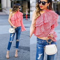 Sasa Zoe - Top, Bag, Jeans, Earrings, Wedges, Sunglasses - CUTEST ONE SHOULDER TOP FOR $23