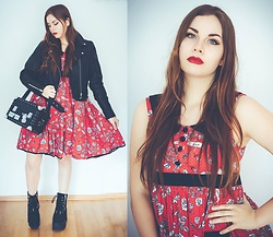 Isabell Mertens - Current Mood Fake Leather Jacket, Hell Bunny Dress, Current Mood Bag, Current Mood Platforms - Red Retro