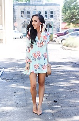 HER. Boutique - Her. Boutique Mint Condition Green Floral Print Dress - Absolute Perfection