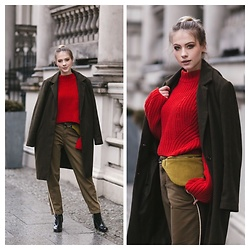 Iga Zubiel - H&M Sweater, New Look Coat, Anacomito Bag, Zara Pants, H&M Shoes - Greenery.