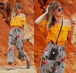 Vicky W - H&M Yellow Neckholder Shirt, H&M Green Mini Bag, H&M Culottes, Asos Shoes - 70s Vibes