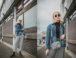 Peaches - Boohoo Denim Jacket, Radley Leather Cross Body Bag, M&S Roll Neck, Ray Ban Round Sunglasses - Denim