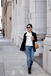 Kasey W - Club Monaco Bow Off Shoulder Top, Topshop High Waist Jeans, Allsaints Lace Blazer, Kenzo Bootie With Zipper Details, Kate Spade Shoulder Bag - Bow on the shoulder.