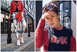 Izabella - Zara Tshirt, Zara Pants, Adidas Shoes, Bershka Jacket - Red milk