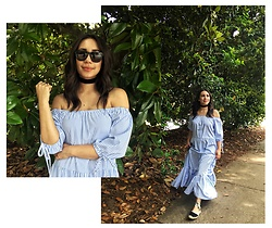Melissa De Leon - Shein Striped Maxi Dress, Soludos Black Espadrilles, Westward Leaning Black Sunglasses, Anarchy Street Black Velvet Choker - Striped Maxi