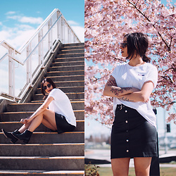 Randa Salloum - Brunette The Label White T Shirt, Brunette The Label Leather Skirt - Spring Refresh