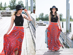 Kassy D - H&M Hat, Worldly Rapture Choker, Judy Blue Denim Jacket, Sienna Belle Printed Maxi Skirt - Breezy Boho