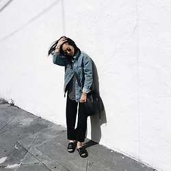 Tiffany Wang - Mon Purse Bucket Bag, Zara Denim Jacket, The Fifth Label Shirt, Urban Outfitters Slides - CASUAL FRIDAY