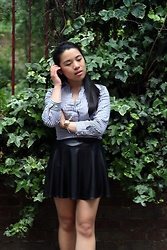 Thuy Pham - H&M Striped Formal Shirt, Forever 21 A Line Skirt - Greenery