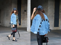 Ranim H. - Bershka Denim Jacket, Adax Bag, Heels - Denim on Point