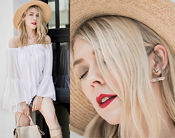 Zuzana - 7 Charming Sisters Crystal Stud Earrings, Romwe White Bell Sleeve Off Shoulder Top, Hatattack Straw Hat, Botkier Warren Backpack - Boho Style: Revisited