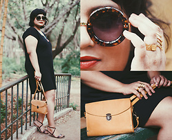 Ragini R - T S Fux The Dress, 7x Chunky Round Sunglasses, Eclectic Eccentricity Brass Stacking Rings, Etsy Leather Crossbody Satchel, Etsy Strappy Leather Sandals - The summer goth no-one expected