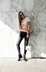 Maria B - Zara Skinny Jeans, Furla Metropolis Bag, H&M Suede Booties, H&M White Tee, H&M Velour Camisole Top, H&M Gold Colored Sunglasses - Layers on layers