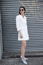 URBAN CREATIVI-TEA - Thom Browne Sunglasses, Zara Blazer, Céline Shoes - White Is The New Black This Season / urbancreativi-tea