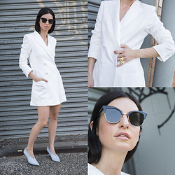 URBAN CREATIVI-TEA - Zara Blazer, Thom Browne Sunglasses, Céline Shoes - White Is The New Black This Season / urbancreativi-tea