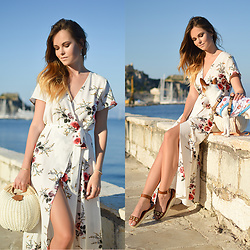Tamara Bellis - Rosegal Floral Maxi Dress, Zaful Bag, Migato Sandals - White Floral Maxi