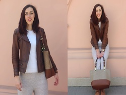 Veronica V - Calvin Klein Bag - Brown Biker Jacket