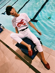 Agnija Grigule - Lindex White Trousers, H&M Lobster Shirt - HIGH BY THE POOL