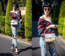 Samantha Mariko - Fig & Viper Shirt, Zerouv Sunglasses, Are You Am I Choker, Mimmi Bags Bag, Urban Outfitters Jeans, Public Desire Heels - A taste of tropical