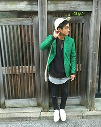 Hideki. Mn - Unused Cap, Bj Classic Collection Eyewear, John Lawence Sullivan Jacket, Bed J.W. Ford Damage Sweat, H&M Skinny Jeans, Converse Addict Sneakers - Japanese fashion 9