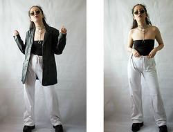 Diane Landers - Fila Trousers, Thrifted Leather Jacket, Buffalo Classic Trainers, Primark Black Bandeau Top - BLACK & WHITE