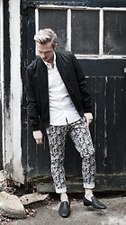 Bradley A - Christian Louboutin Roller Boy Loafer, Asos Patterned Chinos, Topman Black Bomber - Patterned chino