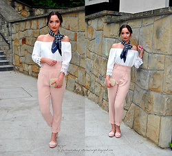 Natalia Uliasz - Zara High Waisted Pants, New Dress Off The Shoulder Blouse, Dresslink Evening Bag, Deezee.Pl Moccasins With Pearls - High-waisted pants Zara