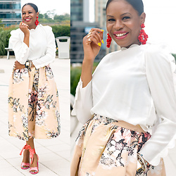 Monica Awe-Etuk - Red Earrings, White Blouse, Floral Skirt, Pink Shoes - AWED BY MONICA: FLORAL IN JACQUARD