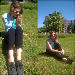 Alla Dolzhenko - Modis Sky Top, H&M Black Pants, Silk Scarves, New Balance Sneakers, Round Sunglasses - Sky top