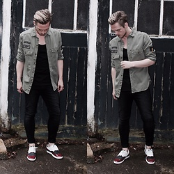 Bradley A - Zara Military Shirt, Cheap Monday Paint Splat Skinny Jeans, Zara Brogue Trainers - Military Shirt
