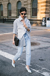URBAN CREATIVI-TEA - Thom Browne Sunglasses, Pip Squeak Chapeau Shirt, Chanel Bag, Topshop Jeans, Céline Shoes - Striped Shirt / urbancreativi-tea