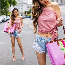 Sasa Zoe - Less Than $90 Top, Monogram Tote, Denim Shorts, Earrings, Sandals - TIE A PINK BOW KNOT