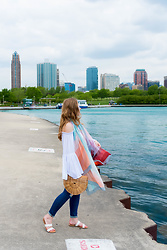 Ashley Hutchinson - Shein Bell Sleeve Blouse, Cult Gaia Ark Bag, Shein White Sandals, Ag Jeans Skinny - Summer by the Lake