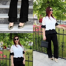 Rebel Takipte - Lovelywholesale Golden Shoes, Jolly Chic Black And White Top, Jolly Chic Black Pants - Golden Shoes