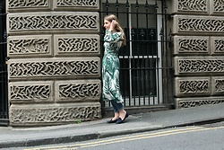 Angharad Jones - Zara Dress, Weekday Jeans, Carvela Shoes - Palm Print Dress over Jeans