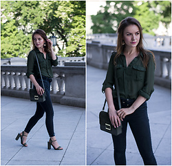Klaudyna - Bershka Shirt, Mango Belt, Brandy Melville Usa Pants, New Look Shoes, Parfois Bag, H&M Earings - Military Green