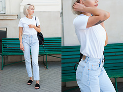 MONIKA S - T Shirt, Levi's® High Waisted Jeans, Peep Toe Mules, Leather Backpack - TEARDROPS