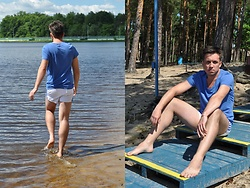 Pawel - Esprit T Shirt, Adidas Shorts - Blue june