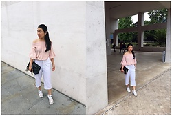 Thuy Pham - Bershka Drop Down Shoulder Blouse, Furla Over Shoulder Bag, Calliope White Culottes, Converse All Start Trainers - Soft pastel colour blend
