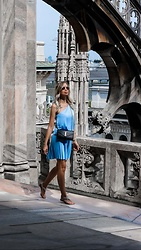 My Philocaly - Asos Pleated Mini Dress, Saint Laurent Bag - Exploring Milan in baby blue